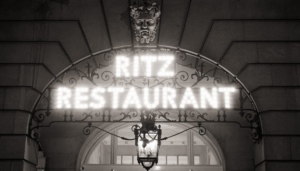 London, UK - November 03, 2014: The Ritz hotel, 5 star, located in Piccadilly, neoclassical style, built by Charles Mewes, opened on 1906.